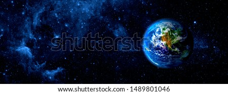 View of the earth from the moon. Elements of this image furnished by NASA Royalty-Free Stock Photo #1489801046