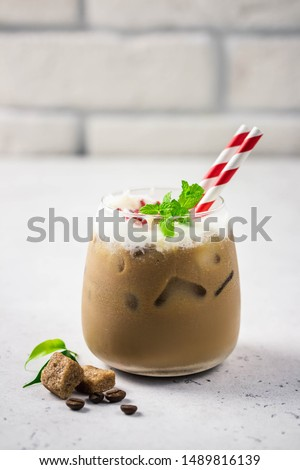 Peppermint white chocolate eggnog mocha. Selective focus, space for text. #1489816139