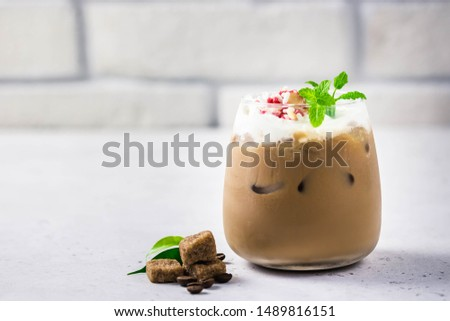 Winter spice latte. Selective focus, space for text. #1489816151