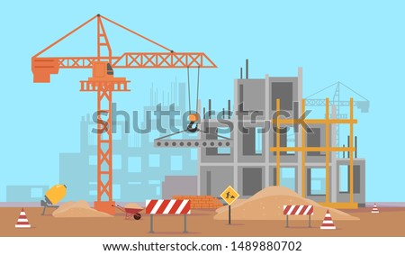 Vector of a building construction site of a high rise complex  Royalty-Free Stock Photo #1489880702