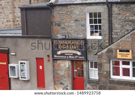 Tain, Scotland - May 10 2017. The entrance of the Glenmorangie distillery in the Scottish highlands #1489923758