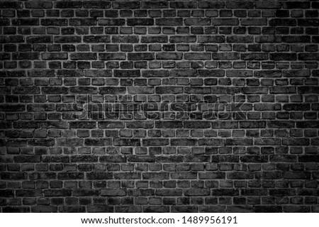 Old brick black color wall. Vintage background #1489956191