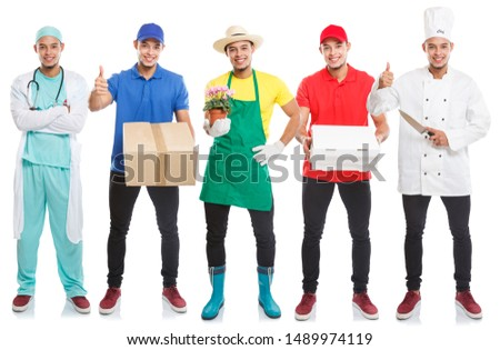 Group of young people occupations occupation full body portrait collection profession job isolated on a white background #1489974119