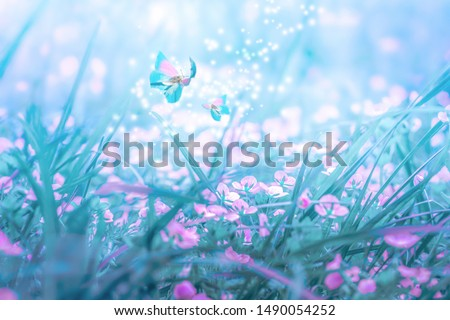 Beautiful micro Veronica persica wildflowers, butterfly in the dreamy meadow. Delicate pink and blue colors pastel toned. Shallow depth macro background. Nature floral springtime. #1490054252