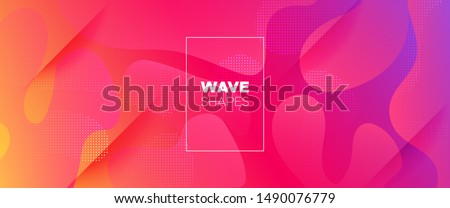 Rainbow 3d Fluid Shapes. Futuristic Gradient. Minimal Pattern. Neon Wave Brochure. Abstract Poster. Colorful Geometric Background. Orange Minimal Concept. Pink Flow Brochure. 3d Fluid Banner. #1490076779