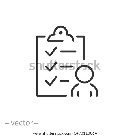 user checklist icon, manager candidate, account activity, thin line web symbol on white background - editable stroke vector illustration eps10 Royalty-Free Stock Photo #1490113064