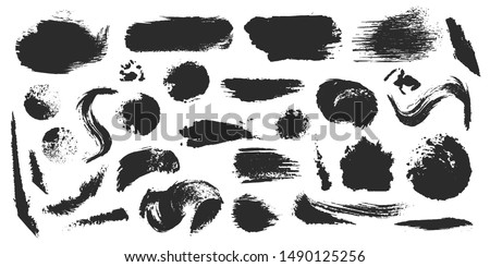 Black ink style splash, blobs and stains brushes and textures made with watercolor. Grunge dirty shapes and silhouettes for your design. #1490125256