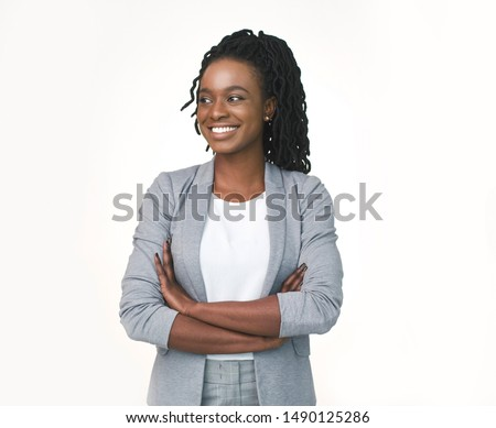 Afro Business Lady Posing Crossing Hands Looking Aside Isolated Over White Studio Background. Free Space #1490125286