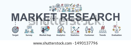 Market research banner web icon for business and social media marketing, target, survey, market gap, customer, trends, analytics and statistics. Flat vector infographic. #1490137796