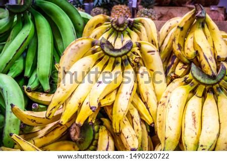 Cooking Bananas (Plantain) at a Market in Quto #1490220722