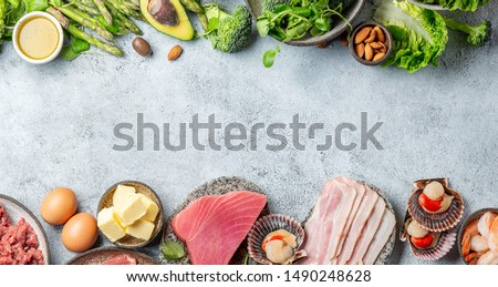 KETOGENIC DIET LOW CARB CONCEPT. Vegetarian and animal protein, carb and fat sources. Healthy food background with copy space #1490248628