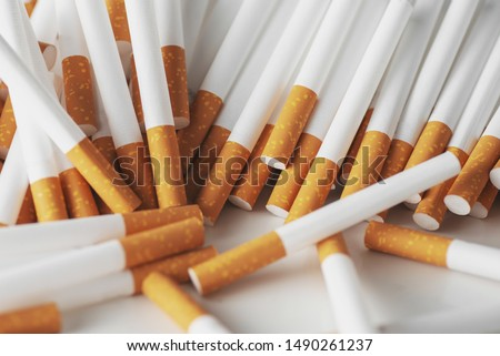 Close up of a smoking cigarettes . cigarette filter tubes #1490261237