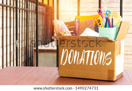 concept donations of supplies, back to school  #1490274731