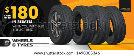 Tires car advertisement poster. Black rubber tyre. Realistic vector shining disk car wheel tyre. Information. Store. Action. Landscape poster, digital banner, flyer, booklet, brochure and web design. #1490305346