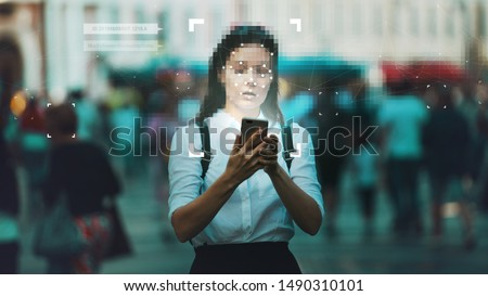 Smart technologies in your smartphone, collection and analysis of big data about person through mobile services and applications. Identification and privacy in context of modern digital technologies. Royalty-Free Stock Photo #1490310101