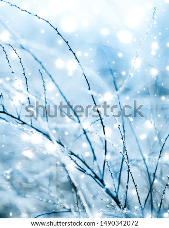 Snowing landscape, greeting card design and New Years Eve travel concept - Winter holiday background, nature scenery with shiny snow and cold weather in Christmas time #1490342072