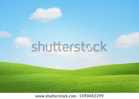 Meadow field hill with white clouds and blue sky, A beautiful summer landscape of the hills. #1490483399