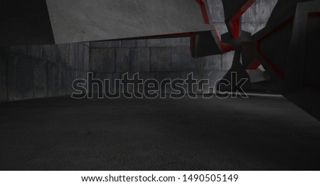 Abstract white and concrete interior. 3D illustration and rendering. #1490505149