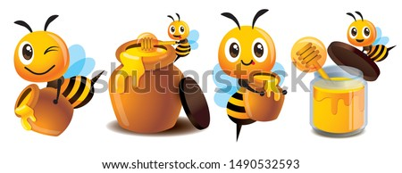 Cartoon cute bee mascot set. Cartoon cute bee with honey pot set. Cute bee carries honey pot and organic honey bottle - Vector character mascot set #1490532593