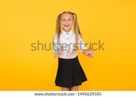 Excited about crafting. Schoolgirl hold school stationery supplies for crafts. Creative crafts. Favourite part of going back to school. Tutorials for little hands. Crafts for elementary school kids. #1490629505