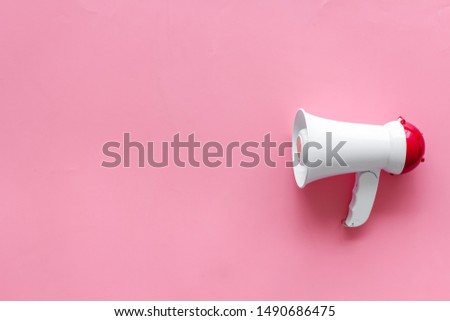 megaphone for advertising and announcement on pink background top view copyspace #1490686475
