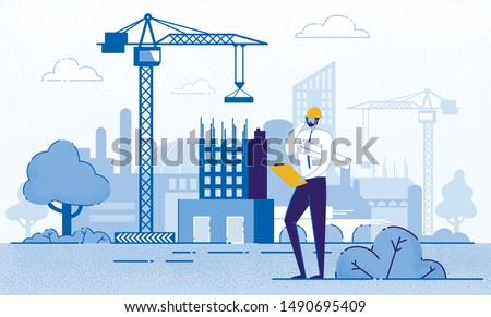 Architect Holding Blueprints near Construction Flat Cartoon Vector Illustration. Engineer Talking on Phone near New Building. Man with Project in Helmet and Suit. Crane Constructing House. Royalty-Free Stock Photo #1490695409