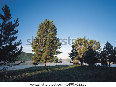 Beautiful scenery landscape with lake, pathway and clouds #1490702225