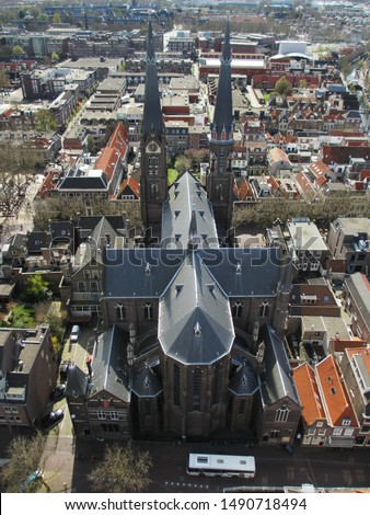 Aerial view of Delft Cathedral, Netherlands #1490718494