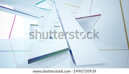 Abstract white and colored gradient glasses interior multilevel public space with window. 3D illustration and rendering. #1490720939