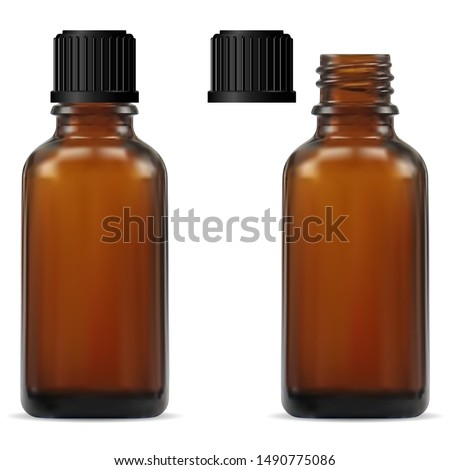 Medical Bottle. Brown Glass Pharmacy Bottle. Realistic Drug Vial Blank. Vitamin Jar Template with Screw Lid Design. Essential Aromatic Oil Container Mockup without Label. Round Medicine Storage #1490775086