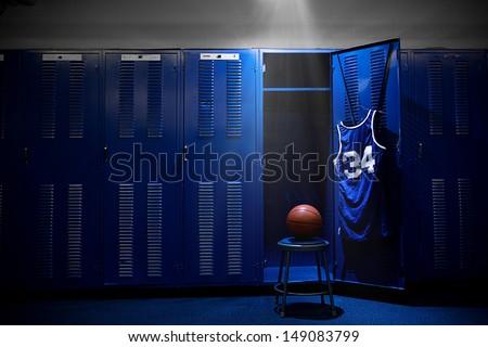 Basketball Locker Room with spotlight on the ball and locker Royalty-Free Stock Photo #149083799