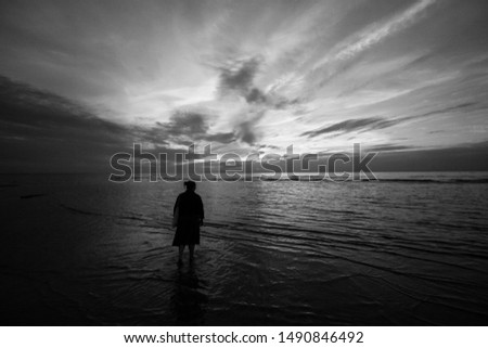 Beautiful summer seaside view of woman standing in Baltic sea in a lovely evening - sunset. #1490846492