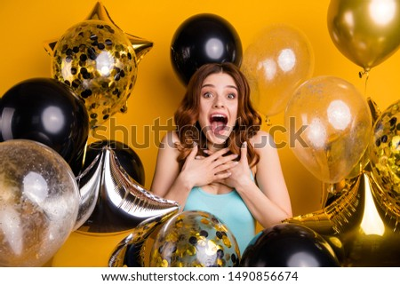 Photo of yelling surrounded by many balloons lady having best bday ever wear tank-top isolated yellow background