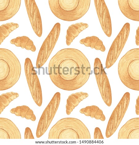 Seamless pattern with watercolor hand drawn baguette, straw hat and  croissant. Textile design texture, Vintage fabric, Watercolor floral pattern in watercolor style. #1490884406