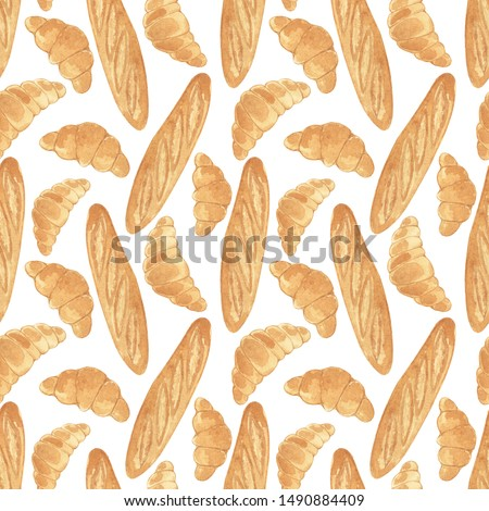 Seamless pattern with watercolor hand drawn baguette and croissant. Textile design texture, Vintage fabric, Watercolor floral pattern in watercolor style. #1490884409