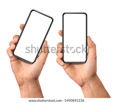 Man hand holding the black smartphone  blank screen with modern frameless design, two positions vertical and rotated - isolated on white background Royalty-Free Stock Photo #1490895236