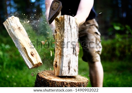 Strong strong man in protective pants splits with an ax log. Slivers of dust fly. Logging firewood. sunny day #1490902022