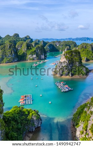 Aerial view Vung Vieng floating fishing village and rock island, Halong Bay, Vietnam, Southeast Asia. UNESCO World Heritage Site. Junk boat cruise to Ha Long Bay. Famous destination of Vietnam Royalty-Free Stock Photo #1490942747