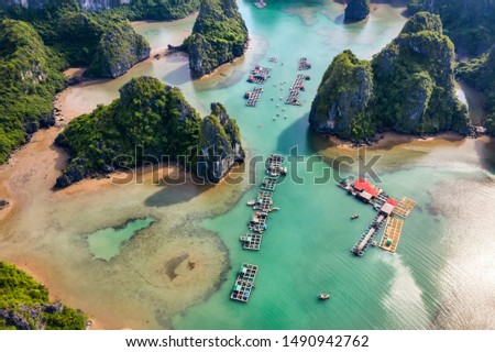 Aerial view Vung Vieng floating fishing village and rock island, Halong Bay, Vietnam, Southeast Asia. UNESCO World Heritage Site. Junk boat cruise to Ha Long Bay. Famous destination of Vietnam Royalty-Free Stock Photo #1490942762