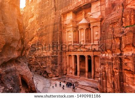 Al Khazneh (The Treasury) at old city Petra. Jordan #1490981186