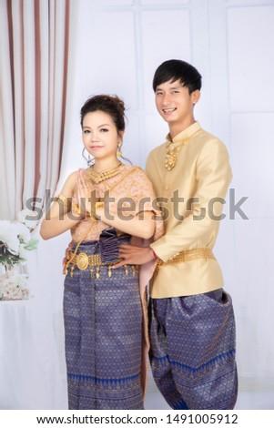 Phnompenh/Cambodia - 6 Aug 2019 : The Cambodian couple take photo pre wedding to prepare thier wedding party on next month  #1491005912