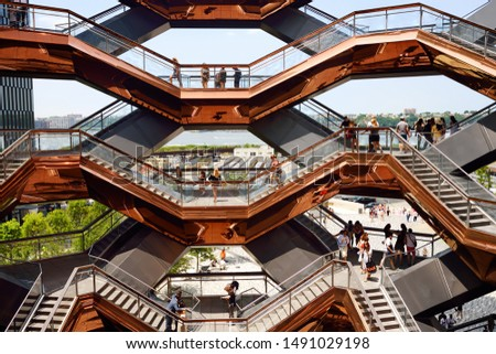 New York, USA - July 9, 2019: Vessel (architect Thomas Heatherwick), Hudson Yards Staircase, at the Hudson Yards district in Manhattan on sunny summer day. #1491029198