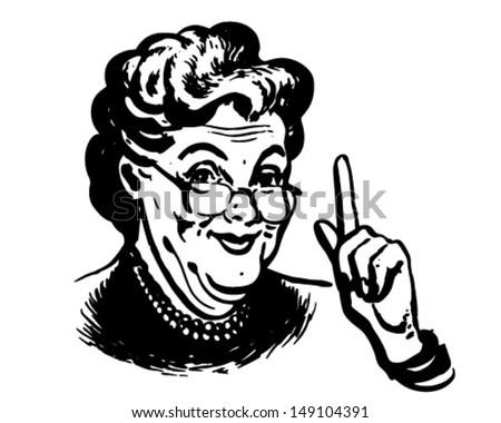 Granny Knows - Retro Clip Art Illustration