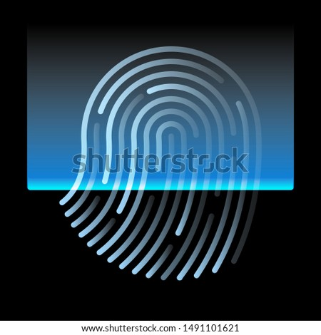 fingerprint Scanning Identification on screen System. Biometric Authorization and Security ,  cyber security Concept , vector image  #1491101621