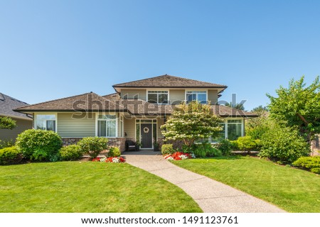 A perfect neighbourhood. Houses in suburb at Summer in the north America. Luxury houses with nice landscape. #1491123761