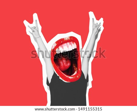 Stylish trendy collage of modern art. Instead of a head, a crazy mouth screams, giving a sign of rock and roll, a gesture of the devil's horn. Bright red lips, white teeth, mouth with a long tongue. #1491155315