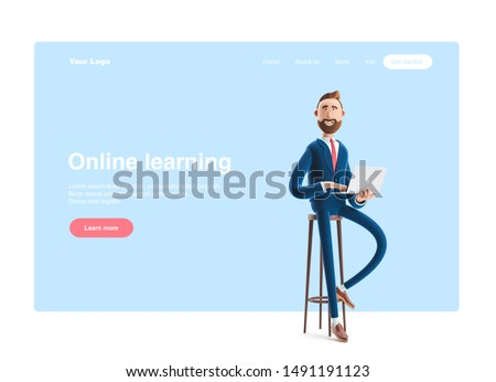 Portrait of a handsome cartoon character with laptop. 3d illustration. Web banner, start site page, infographics, online business concept.