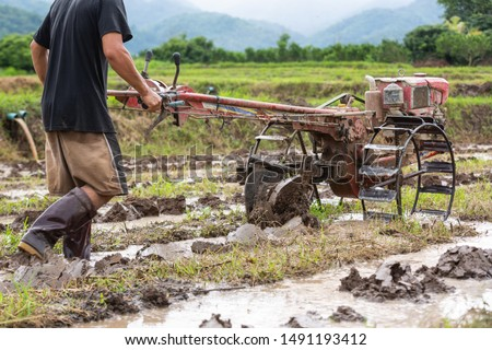 A male farmer who is using his walking tractor in a rice field. #1491193412