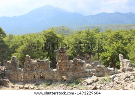 Roman ruins at the Lycian city of Phaselis in Antalya, Turkey-Picture taken August 5, 2019 #1491229604