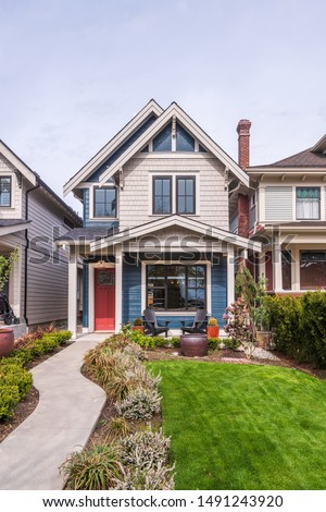 A perfect neighbourhood. Houses in suburb at Summer in the north America. Luxury houses with nice landscape. #1491243920